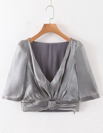 Fashion Gray Deep V-neck Ruffled Cropped Top