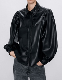 Fashion Black Button-embellished Faux-leather Panel Shirt