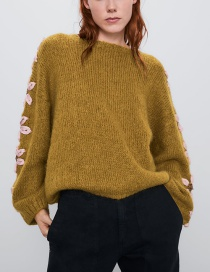 Fashion Ginger Wool Stitch Flower Sweater