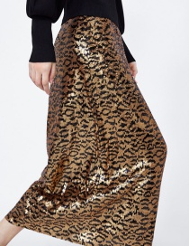 Fashion Leopard Print Sequined Leopard Print Skirt