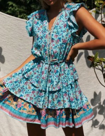 Fashion Blue Layered Printed Dress With Ruffle Sleeves And Drawstring