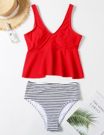 Fashion Red Printed Ruffled Striped High Waist Split Swimsuit
