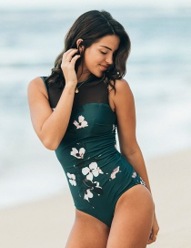 Fashion Dark Green Floral Print Pleated One-piece Swimsuit