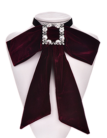 Fashion Red Wine Gold Velvet Diamond Square Multipurpose Brooch Bow Tie
