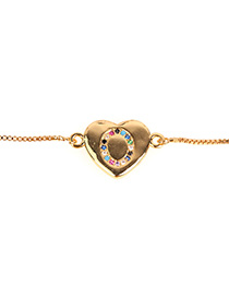 Fashion O Golden Heart Bracelet With Diamonds And Letters