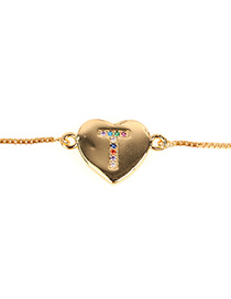 Fashion T Gold Heart Bracelet With Diamonds And Letters