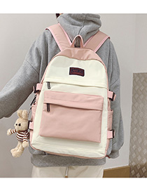 Fashion Pink With Pendant Stitched Contrast-print Alphabet Backpack