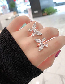 Fashion Silver Double Butterfly Open Ring With Diamonds