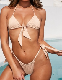 Fashion Apricot Haltered Pleated Split Swimsuit