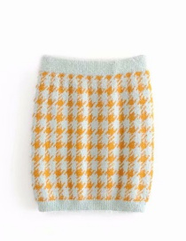Fashion Green Mohair Knitted Houndstooth Elasticated Waist Skirt
