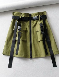 Fashion Army Green Belted Multi-pocket Skirt
