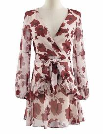Fashion Khaki Maple-print V-neck Lace Dress