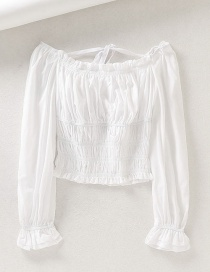 Fashion White Square Collar Lace Up Puff Sleeve Shirt