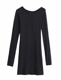 Fashion Dark Gray Crew Neck Button-knit Base Dress