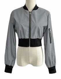 Fashion Gray Reflective Short Cropped Zip Jacket