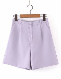 Fashion Lavender High Waist Button Shorts