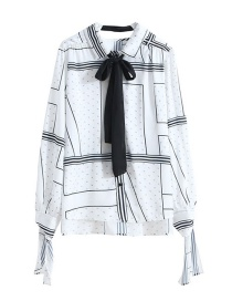 Fashion White Letter Print Ribbon Shirt