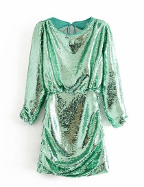 Fashion Green Sequined Back Dress