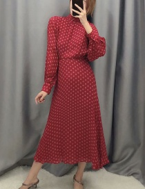 Fashion Red Flower Print Dress With Lining