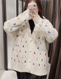 Fashion Creamy-white Embroidered Beaded Sweater Knit Cardigan