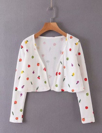 Fashion White Fruit-print Knitted Cardigan
