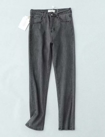 Fashion Gray Washed Straight Jeans