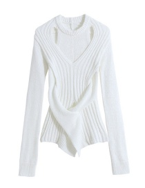 Fashion White Twisted Cross Knit Sweater