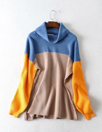 Fashion Blue + Khaki + Orange Anti-needle Colorblock Turtleneck Sweater