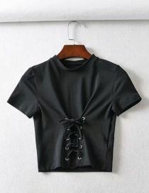 Fashion Black Lace-up T-shirt