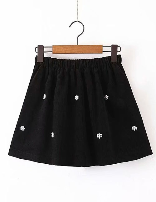Fashion Black Beaded Corduroy Skirt