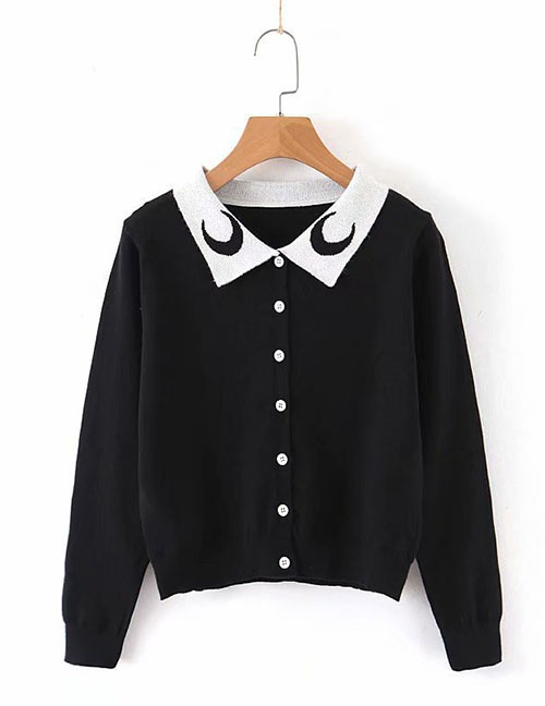 Fashion Black Crescent Jacquard Cropped Sweater Knit Cardigan