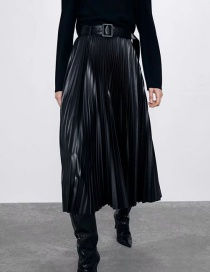 Fashion Black Faux Leather Pleated Skirt