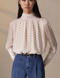 Fashion White Geometric Dot Print Shirt
