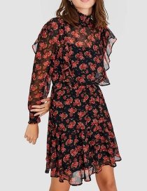 Fashion Black Floral Print Turtleneck Dress