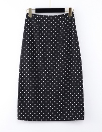 Fashion Black Wave Point Printed Skirt