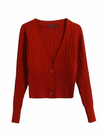 Fashion Red Wine Front-breasted V-neck Knitted Sweater