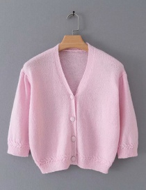 Fashion Pink Short-sleeved Sweater With Front Sleeves And Puffy Sleeves