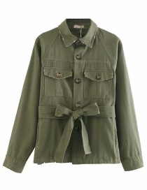 Fashion Army Green Frayed Pocket Lace Up Jacket
