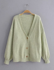 Fashion Green V-neck Single-breasted Knitted Sweater