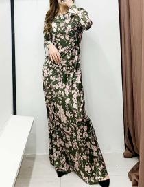 Fashion Green Flower Print Dress