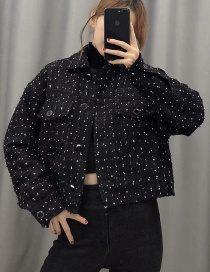 Fashion Black Breasted Tweed Coat