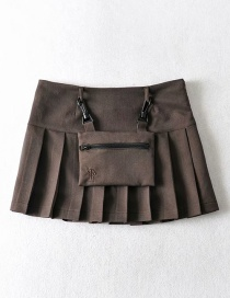 Fashion Coffee Color Cargo Pleated Skirt Skirt