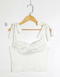 Fashion White Lace-up Camisole Top
