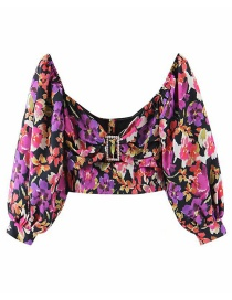 Fashion Color Short-sleeved Shirt With Diamonds And Square Sleeves