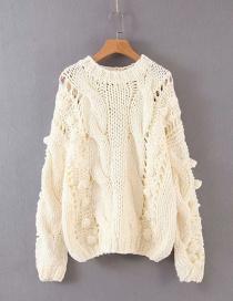 Fashion White Hollow Knit Ball Twist Sweater