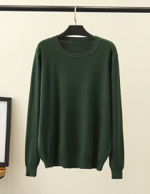 Fashion Dark Green Crew Neck Sweater