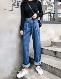 Fashion Navy Washed Waist Pleated Jeans