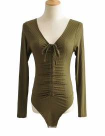 Fashion Army Green Threaded V-neck Lace Jumpsuit