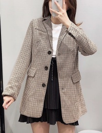 Fashion Khaki Checked Woolen Single-breasted Coat
