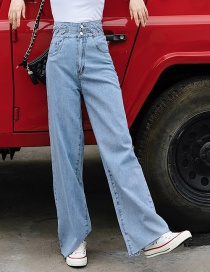 Fashion Blue Straight Washed Jeans With Twist Waistband